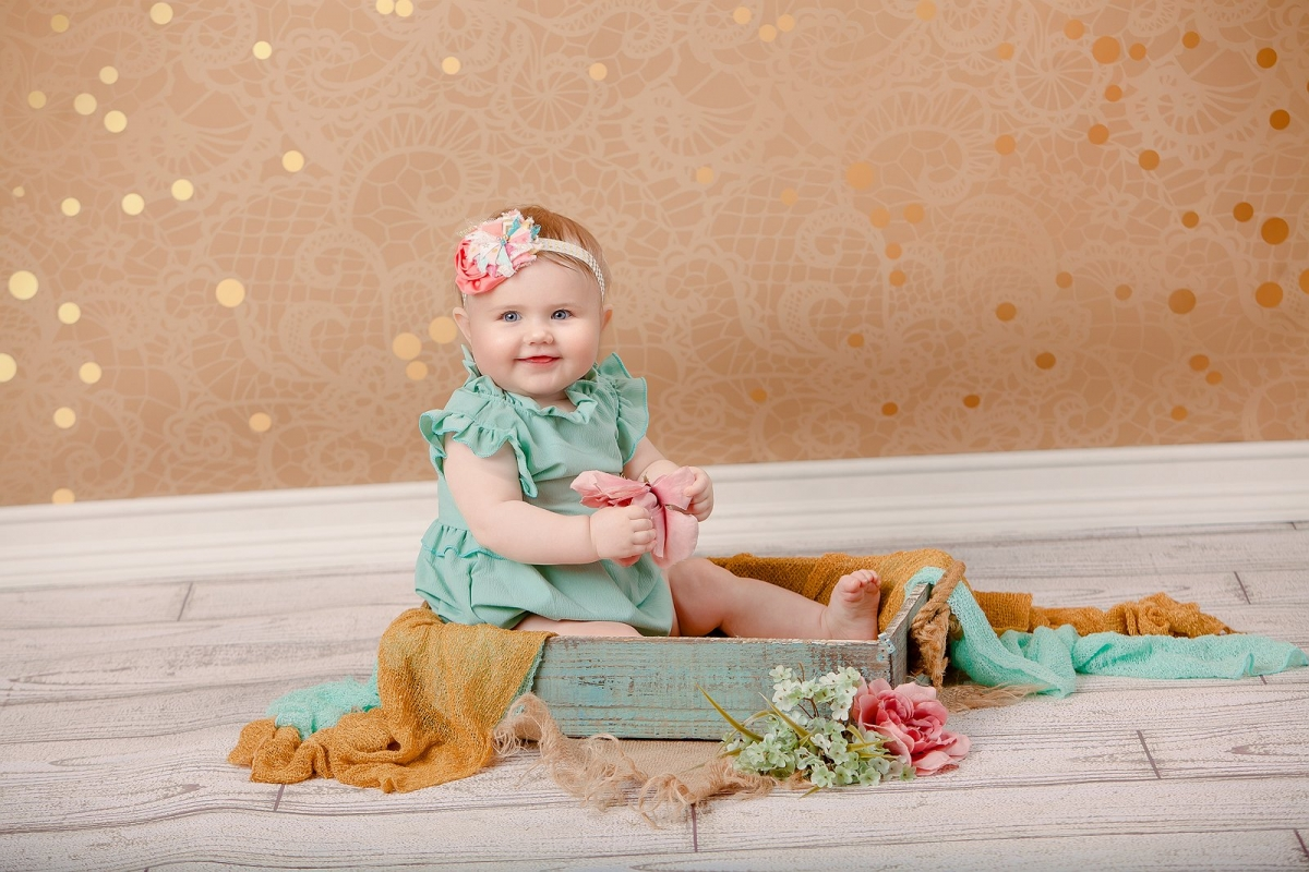 6 Month Old Portrait in teal and gold