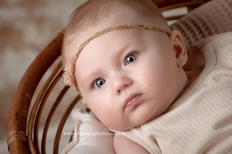 boho 3 month old girl studio portrait