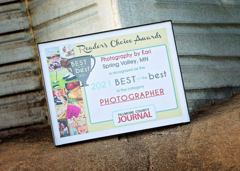 2021 best of the best fillmore county photographer plaque